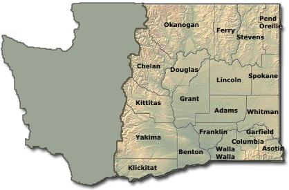Eastern Washington Skate Parks Washington State USA - Map eastern washington